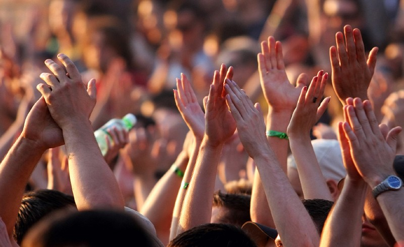 Hands in the air at the concert in the morning