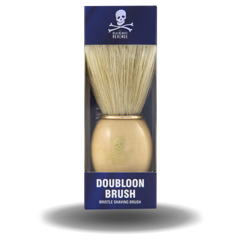 vegan friendly synthetic shaving brush with wooden handle in box by the bluebeards revenge