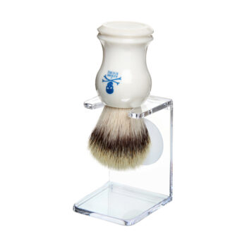vegan friendly synthetic bristle Vanguard shaving brush in a plastic drip stand by the bluebeards revenge