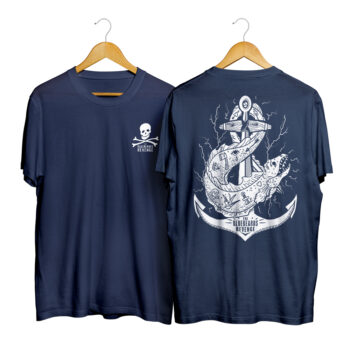 men's blue crew neck t-shirt with custom hand-drawn flash art tattoo design and skull and crossbones logo by the bluebeards revenge