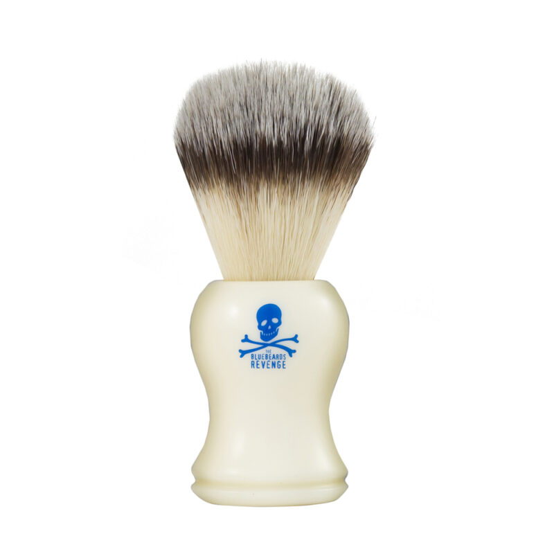 vegan friendly synthetic bristle vanguard shaving brush with a white wooden handle by the bluebeards revenge