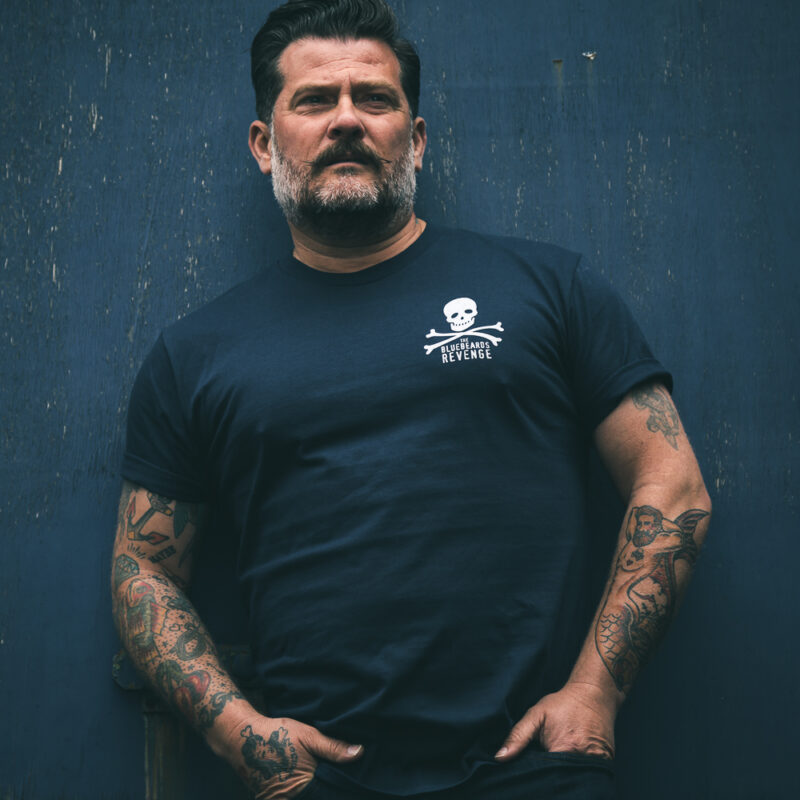 Hand Printed Crew Neck T-Shirt by The Bluebeards Revenge Navy Blue