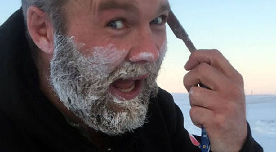 Ollie shaving with the Bluebeards products at the North Pole