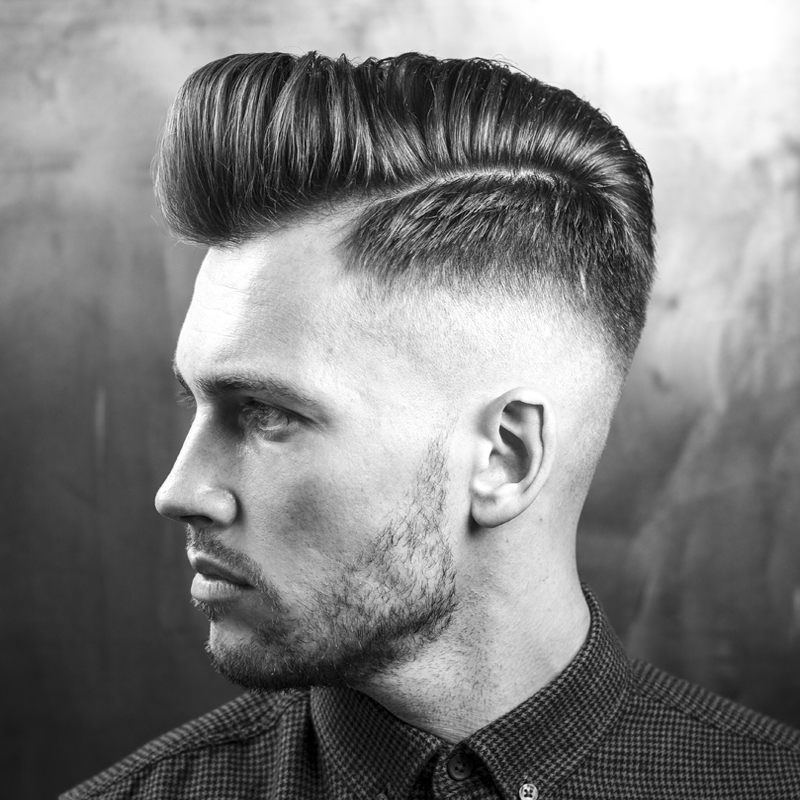 Pompadour with Natural Side Parting