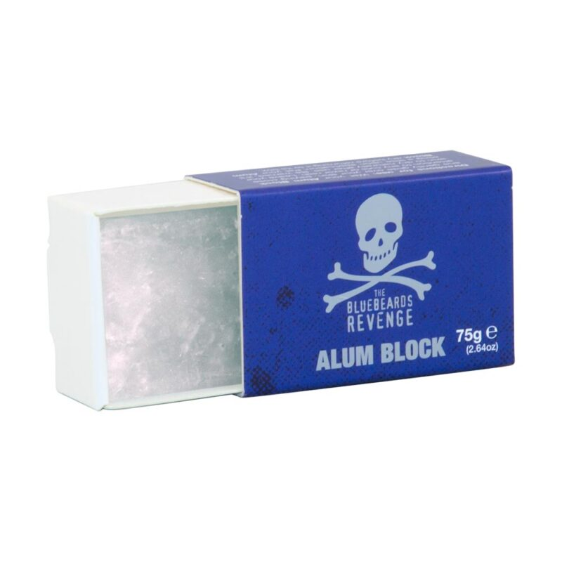 bluebeards revenge post-shave alum block in plastic free packaging