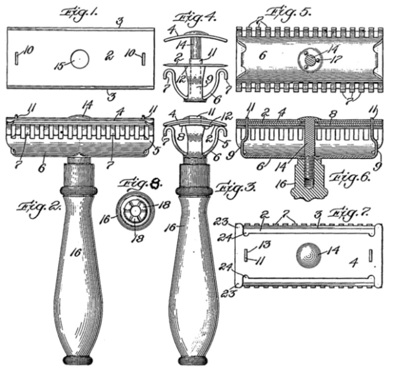 Designs for one of the world's first safety razors