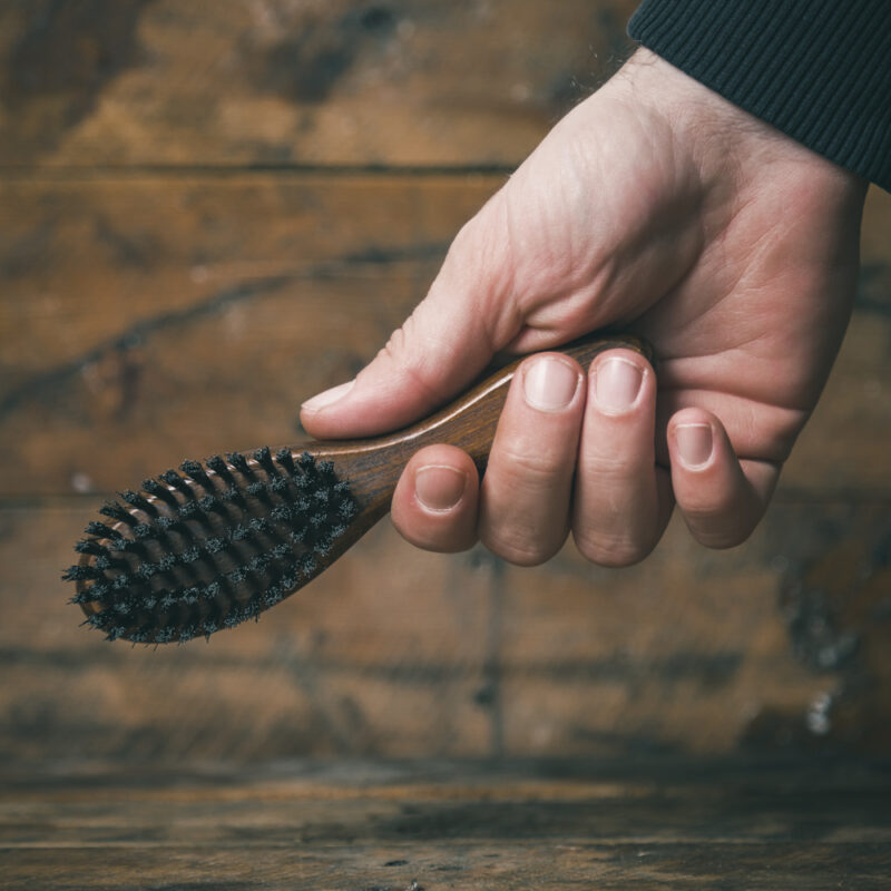 Synthetic Bristle Vegan Fade Brush with a Wooden Handle by The Bluebeards Revenge