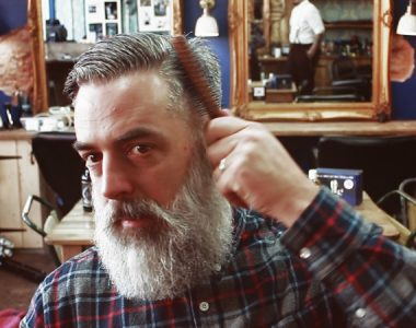 At home: How to style a classic side-parted pompadour
