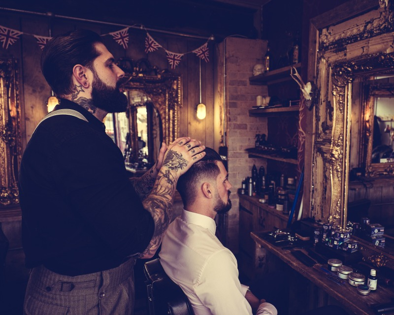 Disconnected Slick-Back with Burst Fade, Barber Shop, Men's Hairstyle, Lions Barber Collective, The Bluebeards Revenge