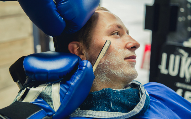 A wet shave with The Bluebeards Revenge Barber Safety Gloves in Luka's Barbers, Plymouth