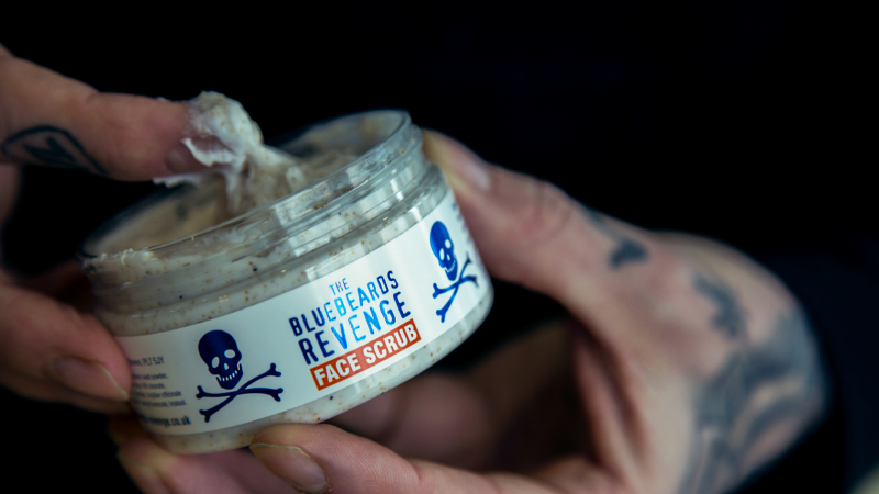 The exfoliating properties of The Bluebeards Revenge Face Scrub on show