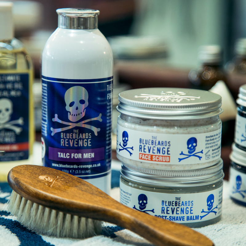 The Bluebeards Revenge Talc, Fade Brush, Face Scrub and Post-Shave Balm