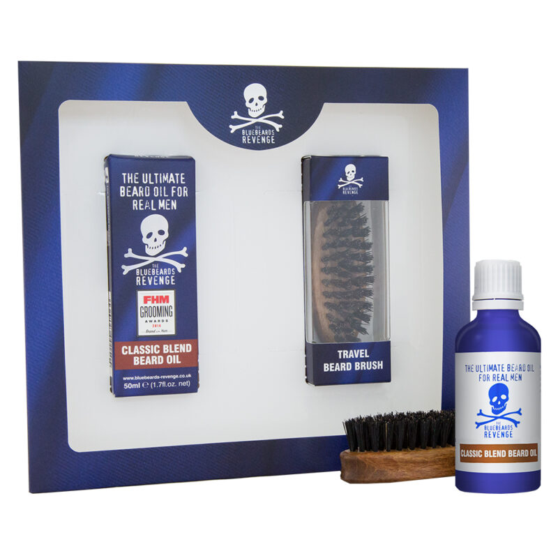 vegan friendly beard oil and wooden travel beard brush beard grooming gift set by the bluebeards revenge