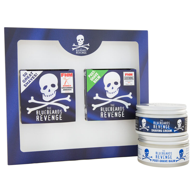 traditional wet shaving cream and soothing post-shave balm skincare gift set for men by the bluebeards revenge