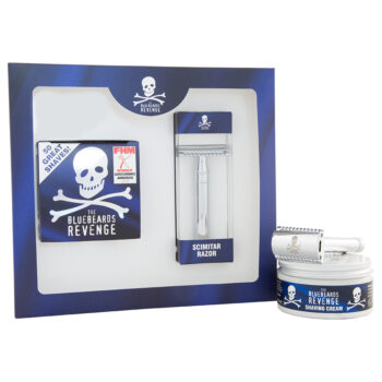 vegan friendly wet shaving cream and plastic free eco friendly scimitar double edge safety razor gift set by the bluebeards revenge