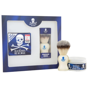 vegan friendly shaving cream and animal free vanguard shaving brush gift set by the bluebeards revenge