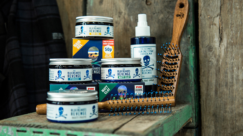 hairstyling products from the bluebeards revenge in a barbershop