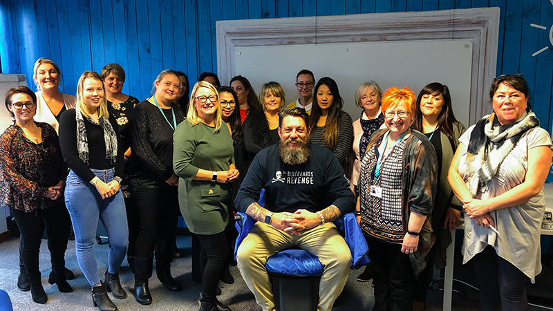 Liam Hamilton visits Interserve Learning and Support for day of barber training