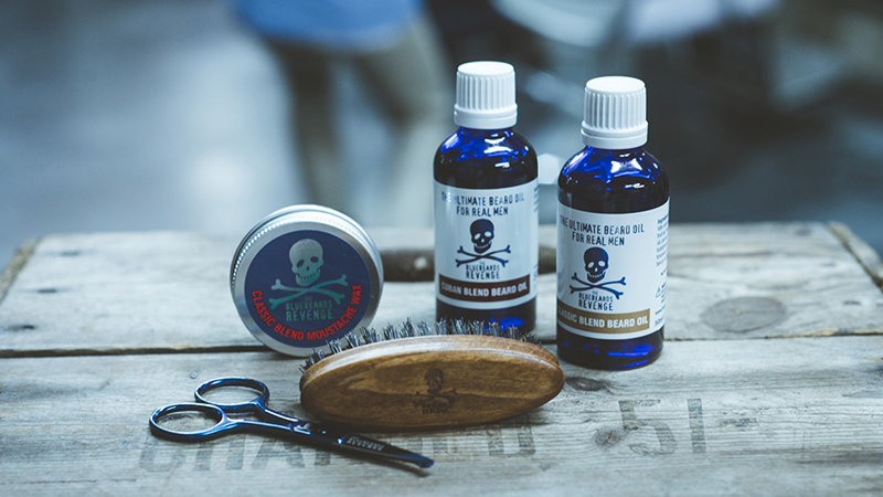 bluebeards revenge beard products in the barbershop