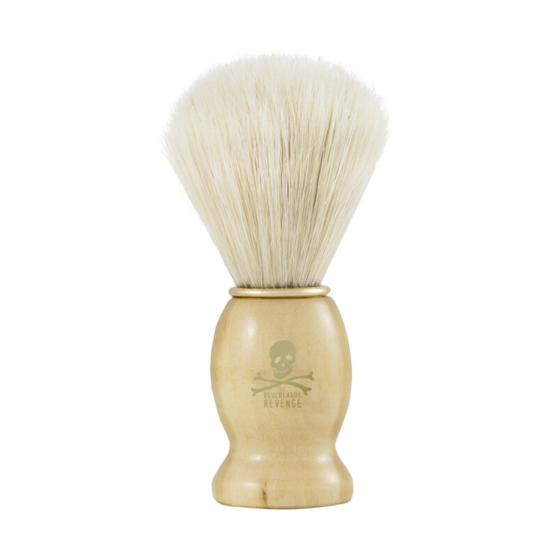 vegan friendly synthetic doubloon shaving brush with wooden handle by the bluebeards revenge