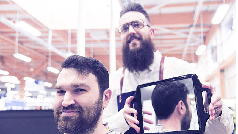 bluebeards revenge barber ambassador ken hermes cuts hair in gould barbershop