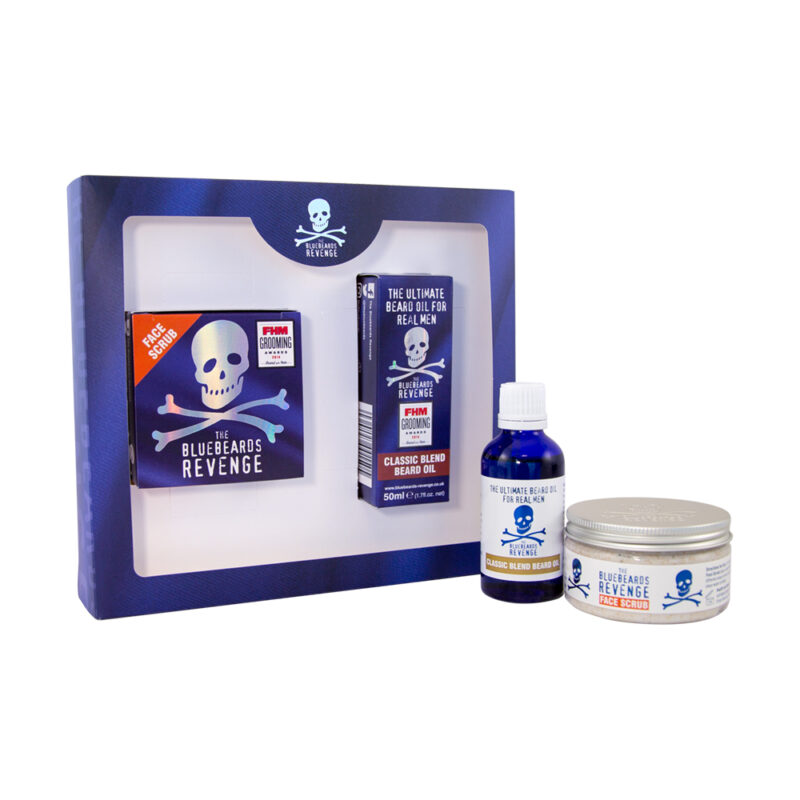 designer stubble men's beard gift set featuring a beard oil and face scrub by the bluebeards revenge