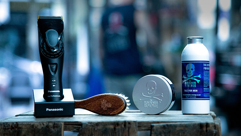 Bluebeards Revenge products and Panasonic clippers in barbershop