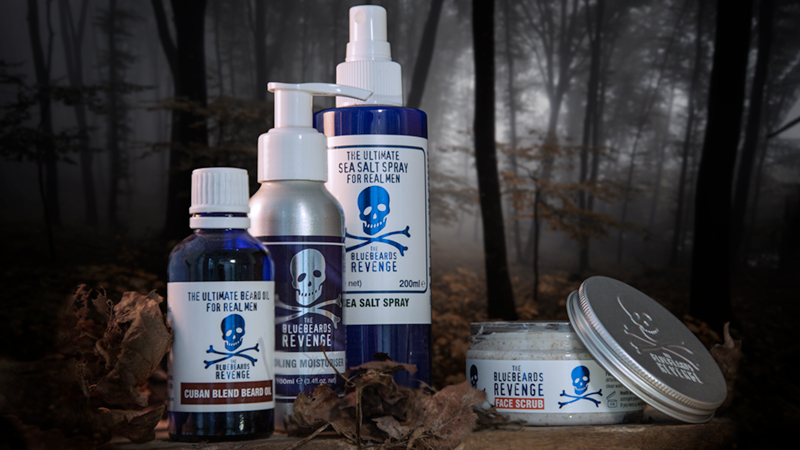 barber-grade men's hair, beard, shave and skin products by the bluebeards revenge in an autumn forest