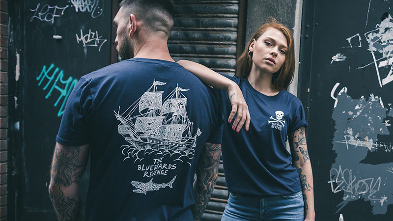 Models wearing new hand printed crew neck t-shirts from men's grooming brand Bluebeards Revenge