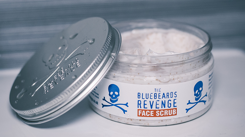bluebeards revenge face scrub sitting on the side of a bathroom sink