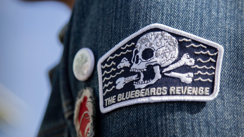 cotton iron on sew on skull and crossbones patch attached to a retro denim jacket by the bluebeards revenge