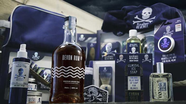 men's grooming products by the bluebeards revenge and a bottle of spiced rum from devon rum co