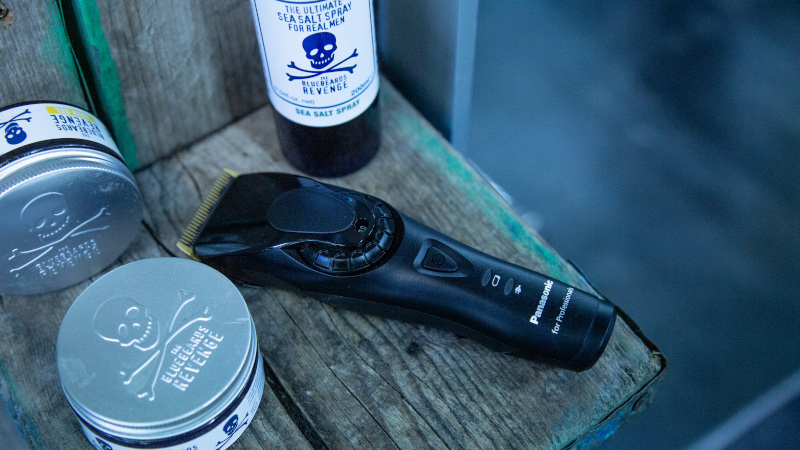 panasonic clippers and men's grooming products from the bluebeards revenge make up the essential tools you'll need to cut your hair at home