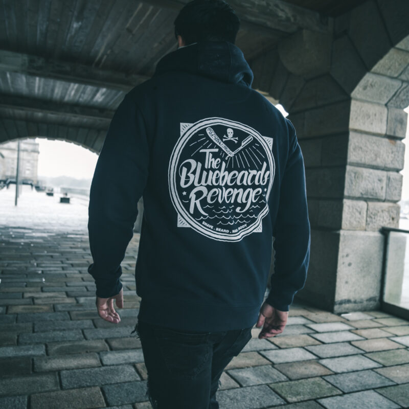 The Bluebeards Revenge Zipped Hoodie with Hand-Drawn Illustration on the back