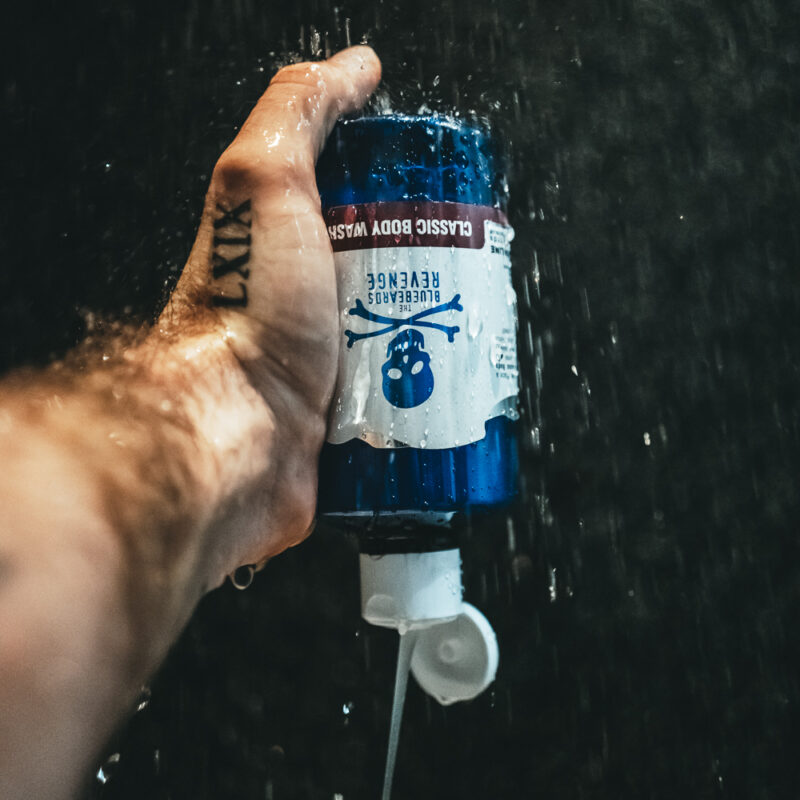 Body Wash for men with a classic barbershop scent by The Bluebeards Revenge being used in the shower